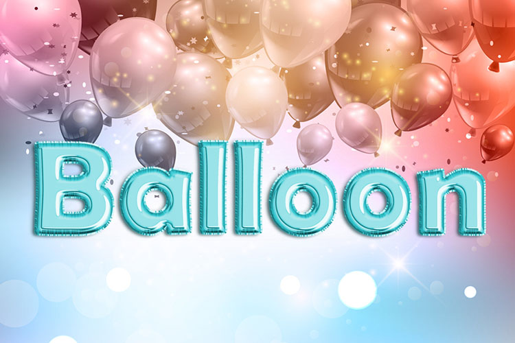 Cyan Foil Balloon Text Effect