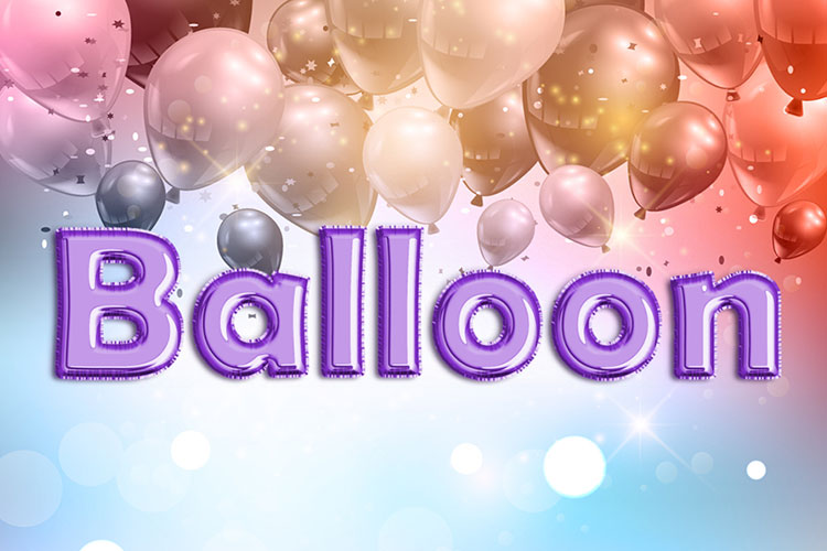 Purple Foil Balloon Text Effect