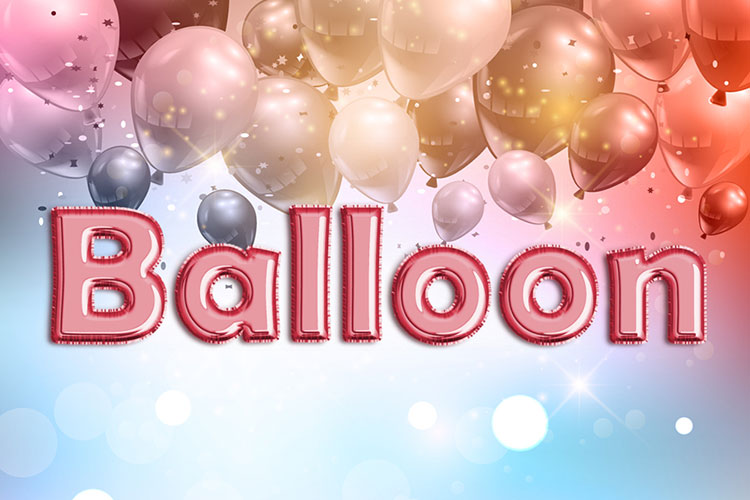 Red Foil Balloon Text Effect