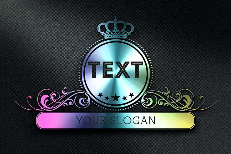Text Logo 3D Metal Galaxy