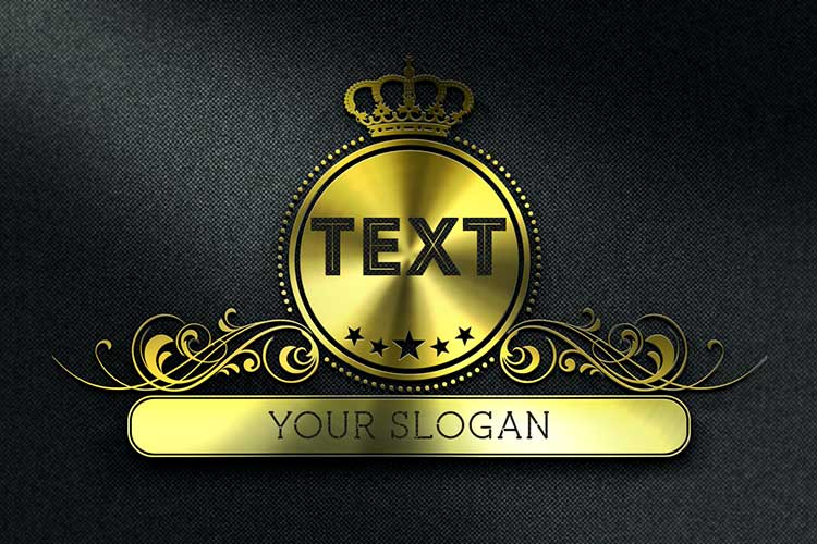 Text Logo 3D Metal Gold