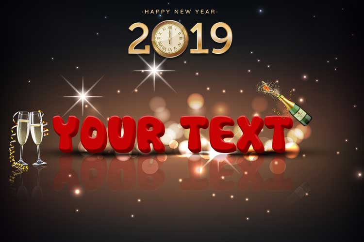 New Year Cards 3D By Name