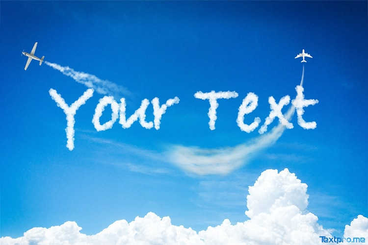 Create a cloud text effect on the sky online